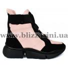 Ботинки 91259-F414-7 black/pink текстиль (искусст мех) бот з