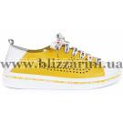 Кроссовки, кеды 9876 06-191 желтая+белая кожа л-т