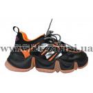 Кроссовки, кеды 2099189-J черная/оранжевая кожа/текстиль туф