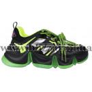 Кроссовки, кеды 2099189-L черная/зелёная кожа/текстиль туф