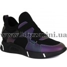 Кроссовки, кеды FLM87611 camouflage кожзам  черный+фиолет кожа  туф