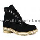 Ботинки G009 209 siyah nubuk (полн искус мех)  черный нубук  бот з