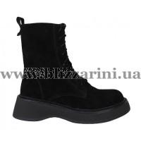Ботинки 18J813-0705M-3008 (полн мех) (мал разм) черный замш бот з