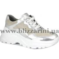 Кроссовки, кеды 805-2-N12/YJ28  серебро кожа+замш  туф