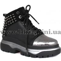 Ботинки 626 433265  черный+никель кожа  бот
