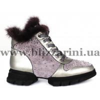 Ботинки 6A508-3045M (полн мех)  серая кожа+замш  бот з