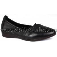 Туфли 163 black  черная кожа  туф