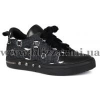 Кроссовки, кеды L201-8843-F63+001  черная кожа+джинс  туф