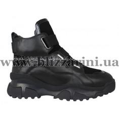 Кроссовки, кеды 6819M-3-A2-B1  (полн мех) черный замш+кожа бот з