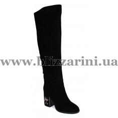 Ботфорты ZR1239-13BMF (мех 4)  черный замш  зима