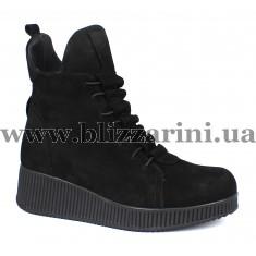 Ботинки 480 00-M1 221 (полн мех)  черный замш  бот з