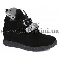 Сникерсы 18KB-1081-1 siyah suet-platin (полн мех)  черный замш  бот з