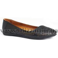Літній туфель 1003 75  черная кожа (мал разм)  л-т