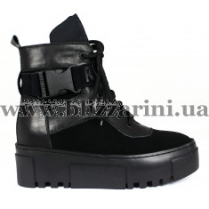 Ботинки L357M-8065-005+F157 (полн мех)  черный замш+кожа  бот з