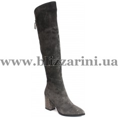 Ботфорт KR693-05-271-BM (мех 4)  серый замш  зима