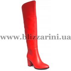 Ботфорт KR628-08B-244-BM (мех 4)  красная кожа  зима