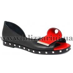 Туфлі 711 425  черная+красная кожа  л-т