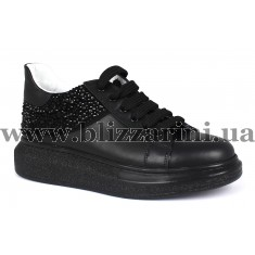 Кросiвки 147-6407 siyah deri siyah tas  черная кожа  туф