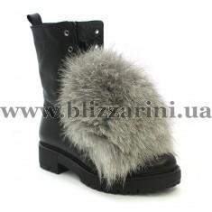 Ботинки 0430-H554 (полн мех) 17K 285 black learher черная кожа з