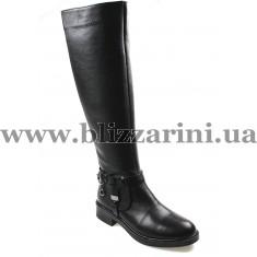 Чобіт 702 siyah 01 (мех 4) черная кожа з